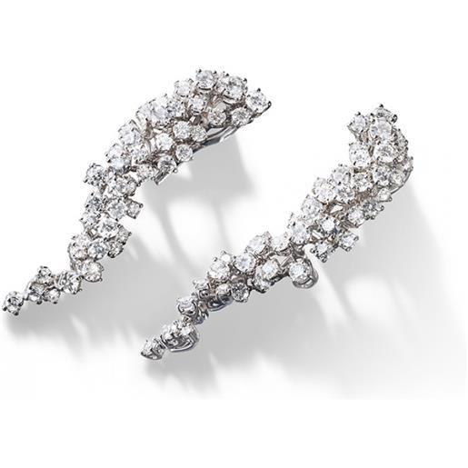 Damiani orecchini mimosa in oro bianco con diamanti