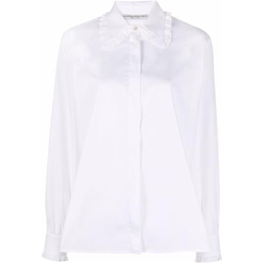 Alessandra Rich lace-trimmed collar shirt - bianco