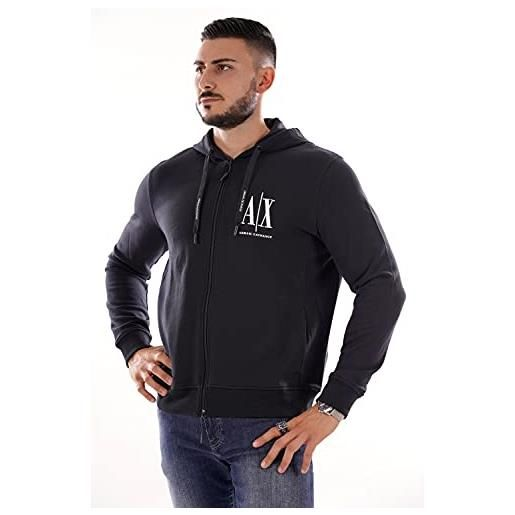 ARMANI EXCHANGE icon hoodie cappuccio, nero (black 1200), large uomo