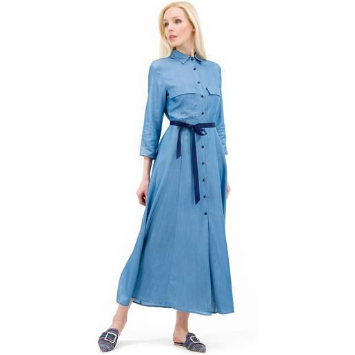 Demetra Closet abito chemisier in tessuto chambray