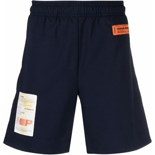 Heron Preston active shorts label blue