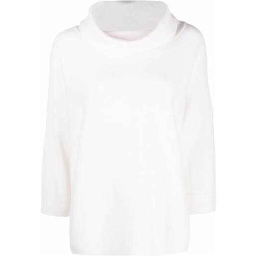 Snobby Sheep maglione con scollo drappeggiato - bianco