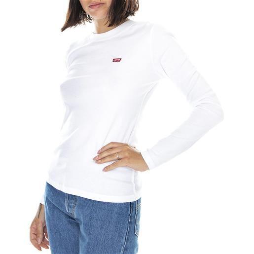 LEVIS baby - maglietta girocollo maniche lunghe donna bianca