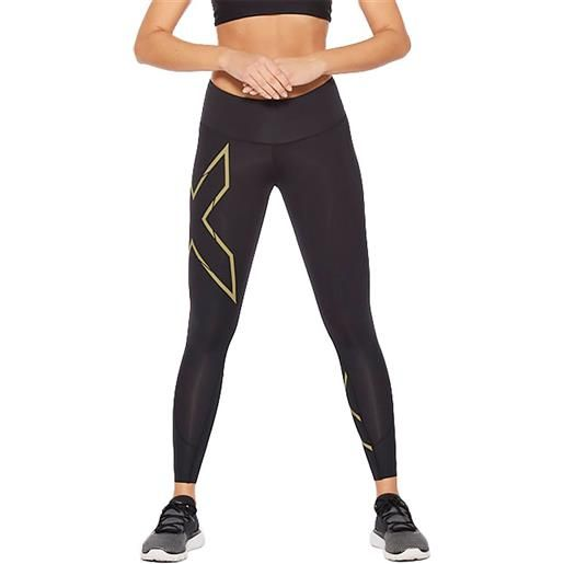 2xu leggings light speed mid rise compressivi l black / gold reflective