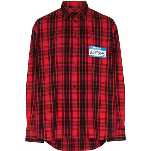 VETEMENTS camicia tartan my name is - rosso