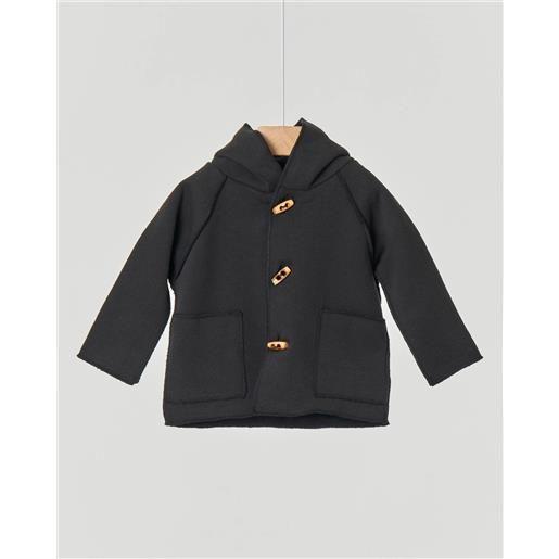 Aventiquattrore cappottino montgomery nero in felpa con cappuccio e alamari 6-18 mesi