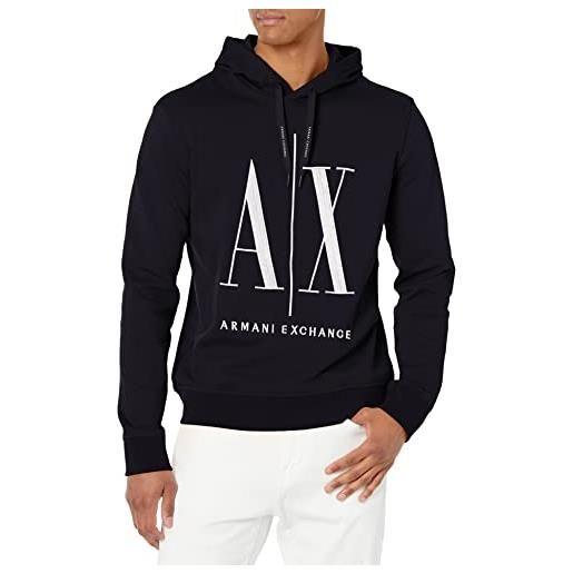 ARMANI EXCHANGE hoodie, maxi print logo on front maglia di tuta, nero, s uomo