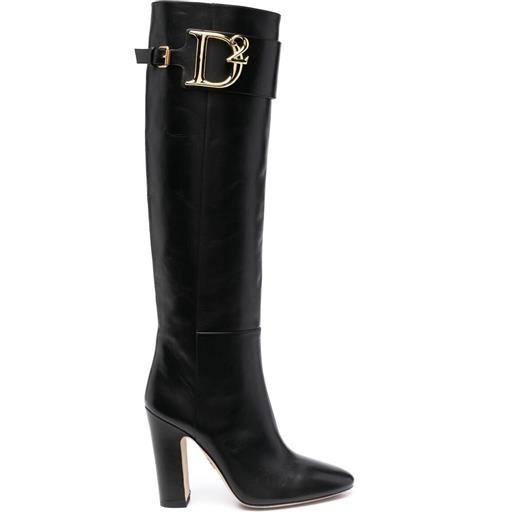 Dsquared2 stivali con placca con logo - nero