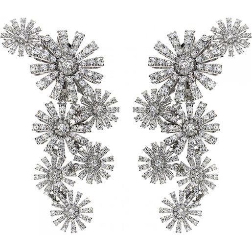 Damiani orecchini margherita in oro bianco e diamanti