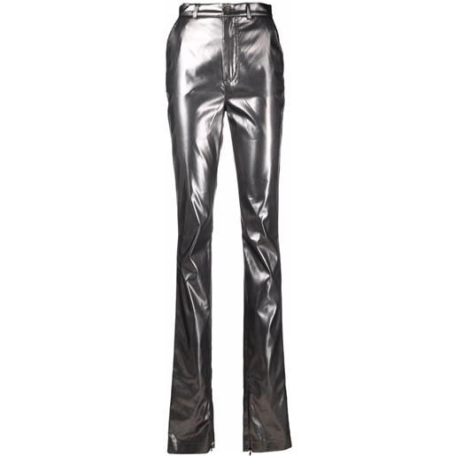 Dolce & Gabbana pantaloni skinny metallizzati - argento