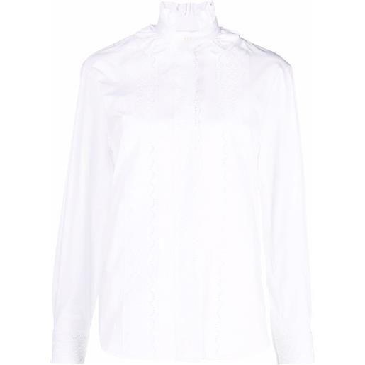 Paco Rabanne camicia con ruches - bianco