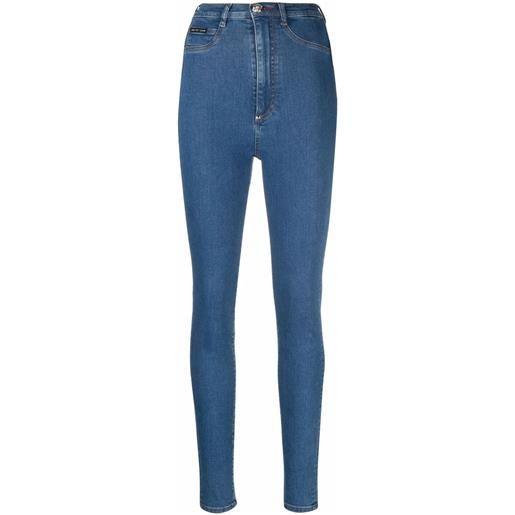 Philipp Plein jeans a vita alta - blu