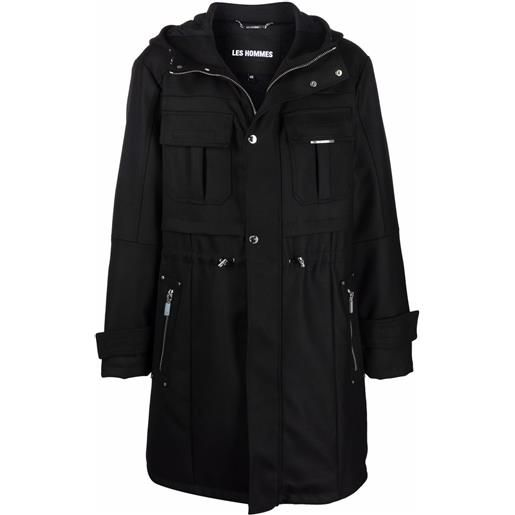 Les Hommes trench con coulisse - nero