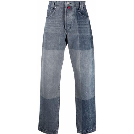032c jeans dritti con design color-block - blu