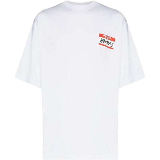 VETEMENTS t-shirt my name is con stampa - bianco