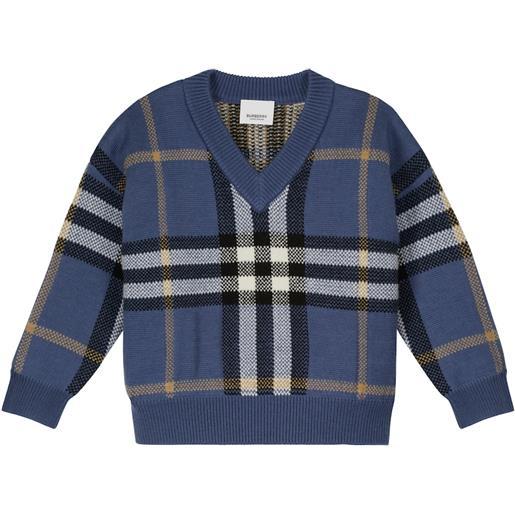 Burberry Kids pullover in lana e cashmere a quadri