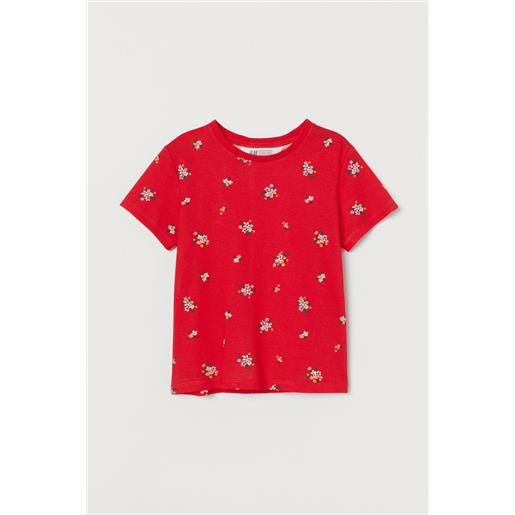 H & M - top in jersey con stampa - rosso