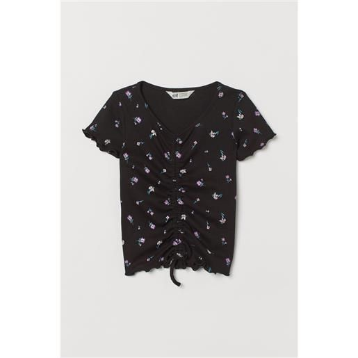 H & M - top a coste con coulisse - nero