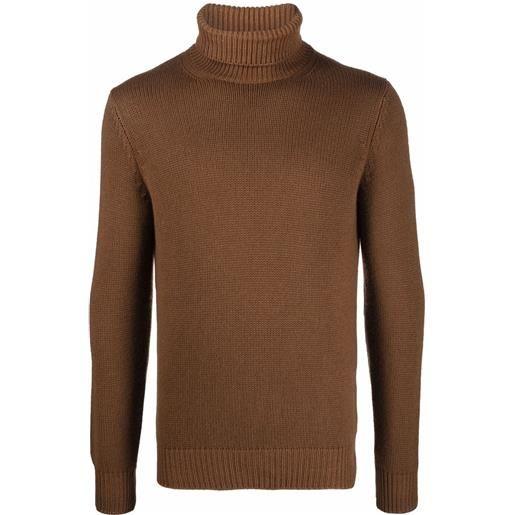 Dell'oglio maglione con dettaglio a coste - marrone