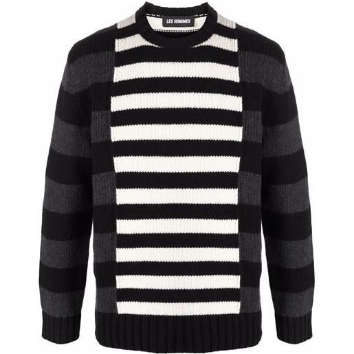 Les Hommes maglione a righe con design color-block - bianco