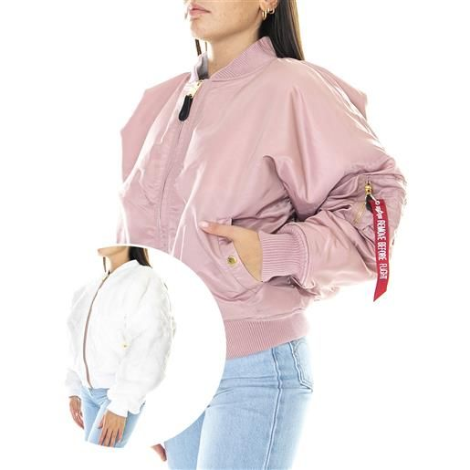 ALPHA INDUSTRIES ma-1 os reversible - giacca invernale reversibile donna rosa / bianca