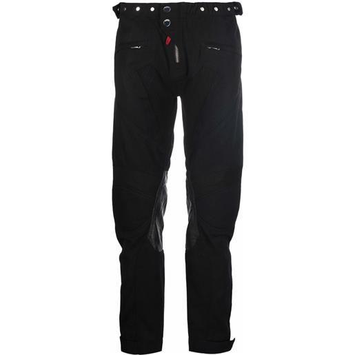 032c pantaloni dritti con applicazione - nero