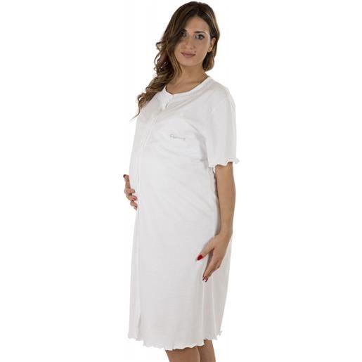 Premamy camicia da notte manica lunga bianco - modello clinica t6