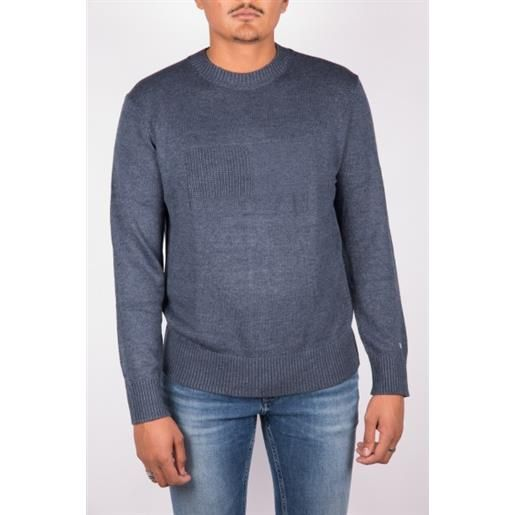 TOMMY JEANS pullover blu uomo tjm tonal flag tommy jeans