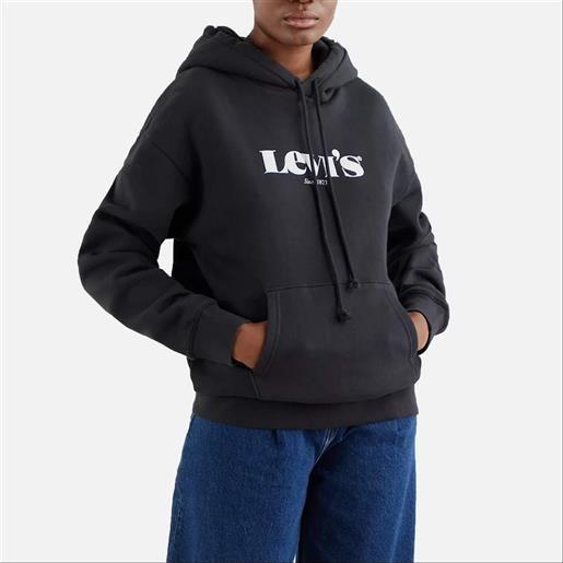 Levi's felpa da donna con cappuccio graphic standard nera