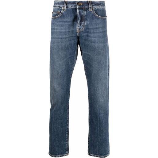 Saint Laurent jeans dritti con logo - blu